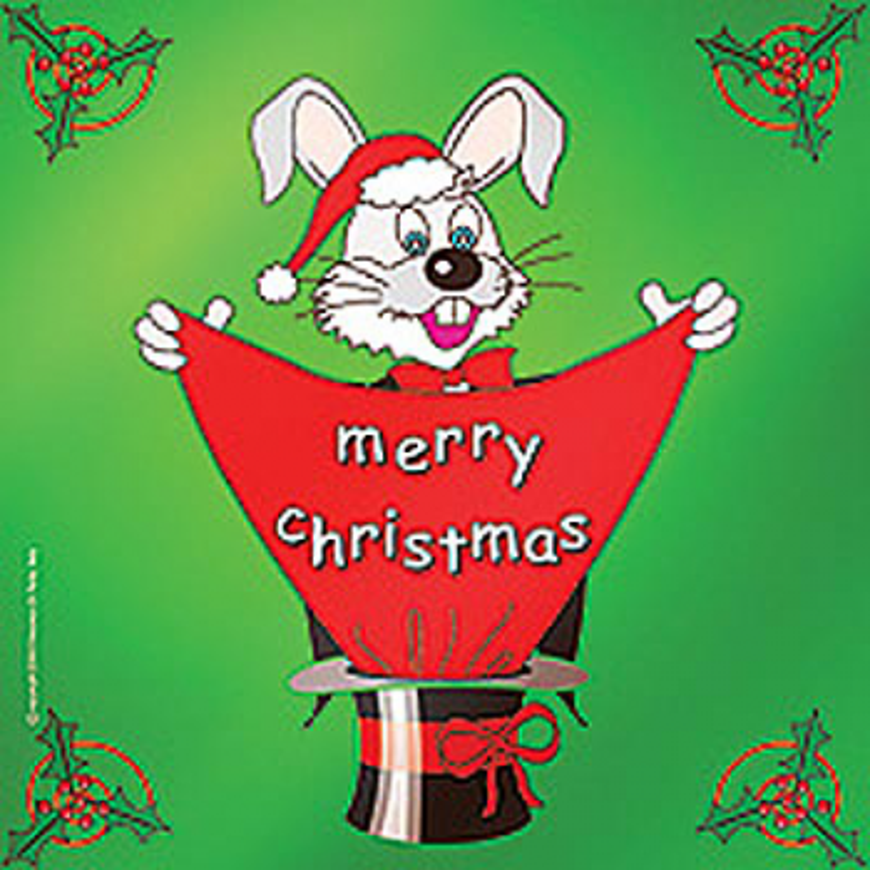 "Foulard lapin vert ""Merry christmas"" 60 x 60 cm (24"")"