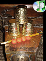 Cups and Balls Embossed Brass Large