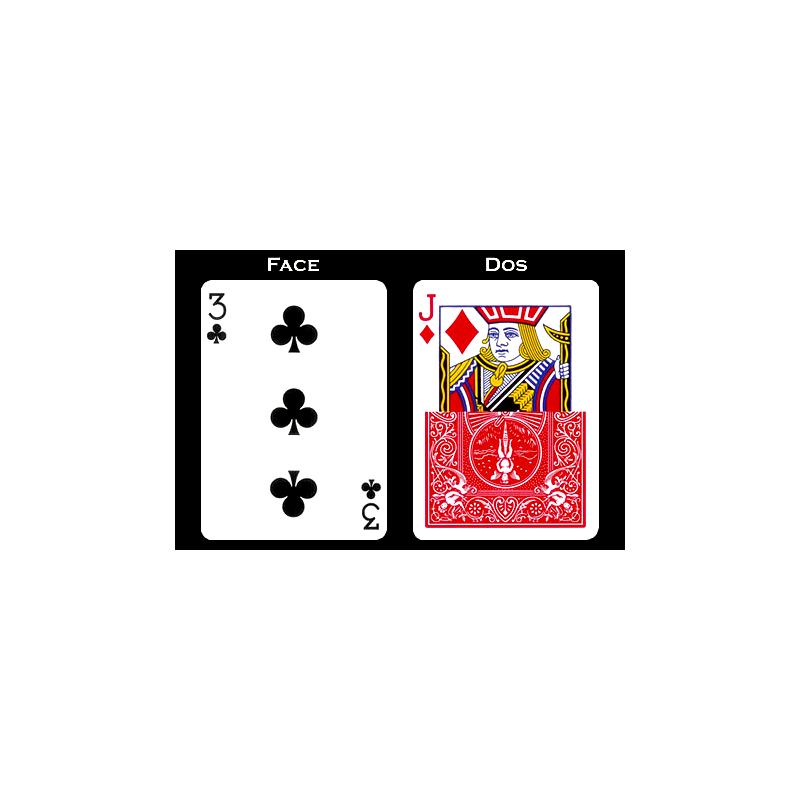 Carte à L'unité 3 de tréfle et valet tarot