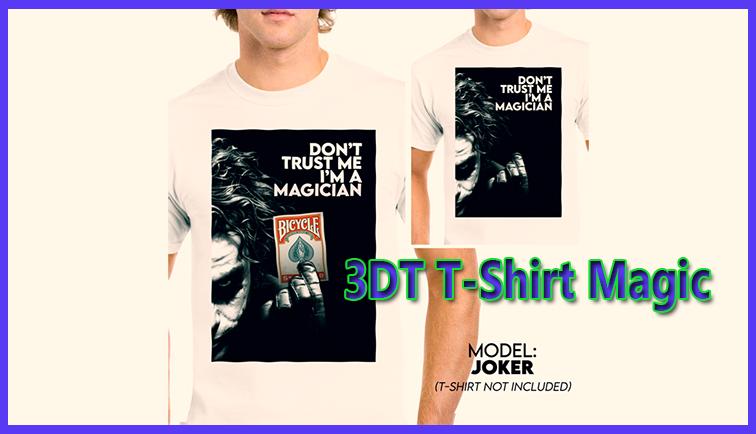 gros plan sur le dessin du t-shirt de  3DT - joker T-shirt magic Jota.