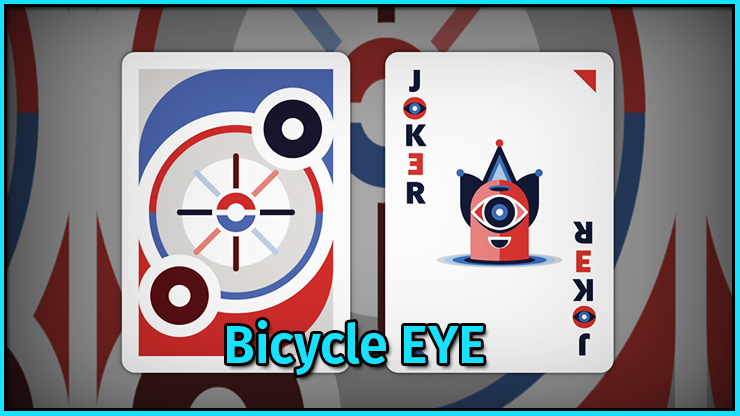 Un joker vu de face et vu de dos du jeu de carte Bicycle EYE.
