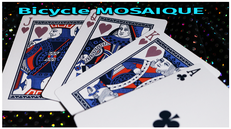 le valet la dame le roi de cœur et l'as de trèfle du jeu Bicycle Mosaique Playing Card