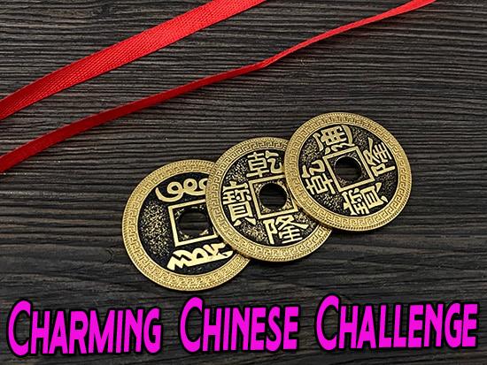 gros plan sur les 3 pièces et le ruban du tour Deuxième Photo de Chinese Coin & Ribbon
