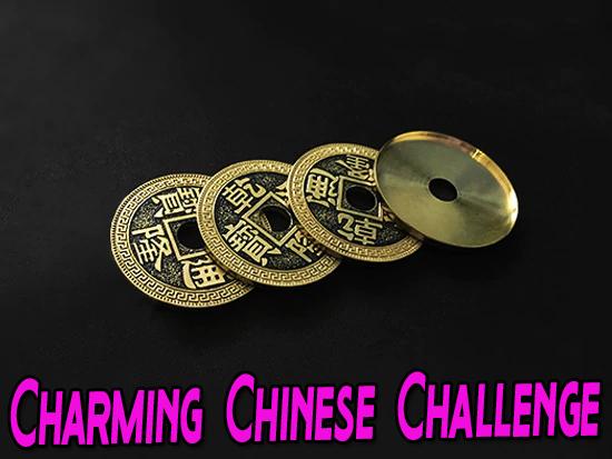 voici les 3 pièces et la coquille du tour Chinese Coin & Ribbon jimmy phan