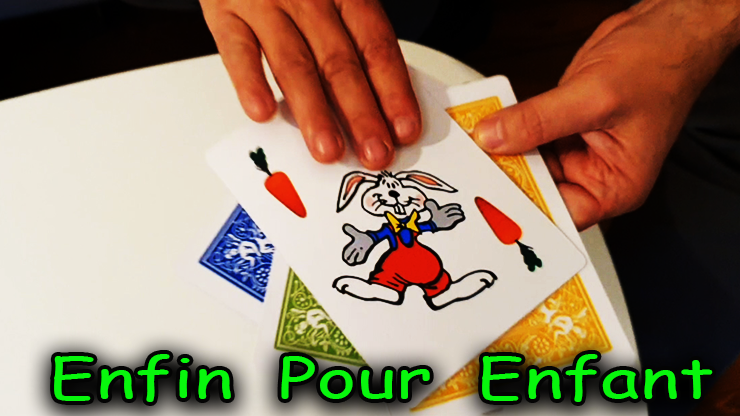 presentation des 4 cartes avec 1 lapin du tour Rabbit On The Rainbow - Juan Pablo Magic.