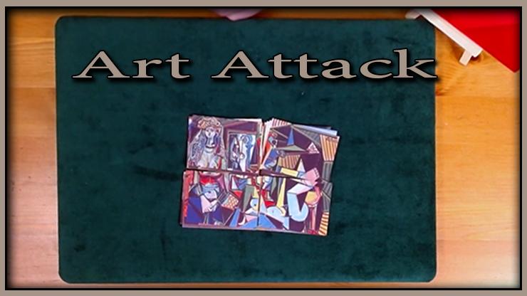 les seize cartes sont rassemblé en quatre tas du tour art attack de michael breggar