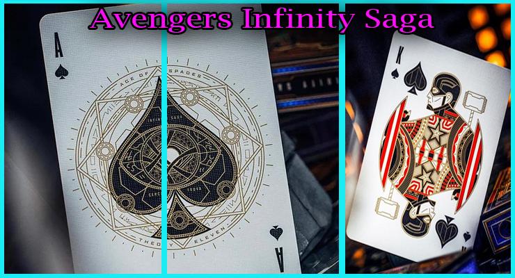 gros plan sur l'as de pique et capitaine america du Jeu De Cartes Avengers - Infinity Saga