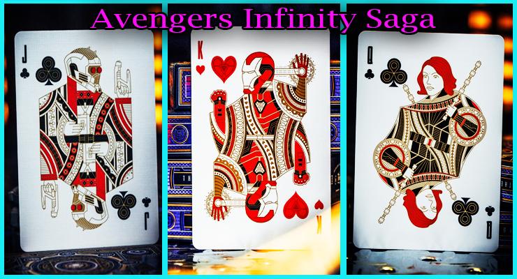 voici la carte valet de trefle avec iron man et black widow du Jeu De Cartes Avengers - Infinity Saga