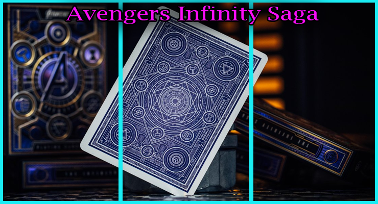magnifique dos bleu violet avec des formes géometriques du Jeu De Cartes Avengers - Infinity Saga