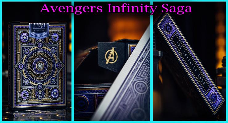 je jeu de carte avec le seau marvel, le sigle A de avenger et la tranche du Jeu De Cartes Avengers - Infinity Saga