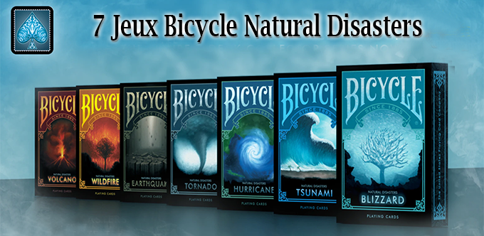 voici les 7 jeu de cartes de la collection Bicycle Natural disasters