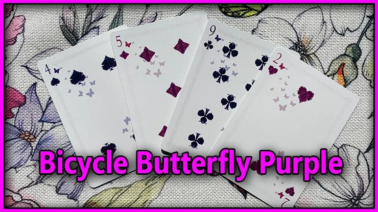 le quatre de pique le cinque de carreau le neuf de trefle et le deux de coeur du Jeu De Carte Bicycle Butterfly Purple