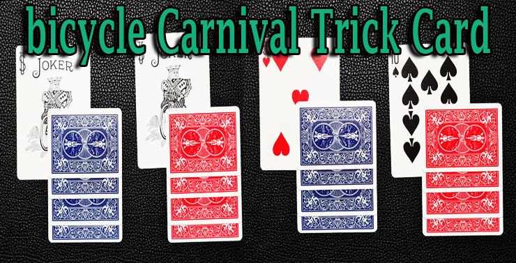 quatre cartes overlap avec un dos bleu et un dos rouge et deux jokers du jeu bicycle carnival cards