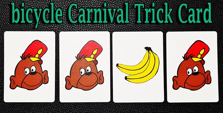 voici le tour singe et banane  avec 3 cartes singe et 1 banane du jeu bicycle carnival cards