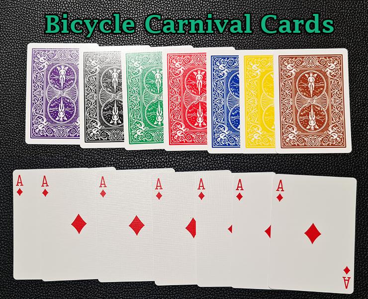sept as avec des dos différents du jeu bicycle carnival cards