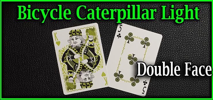 voici une carte double face le roi de coeur d'un côté et le cinque de trefle de l'autre du jeu bicycle caterpillar light