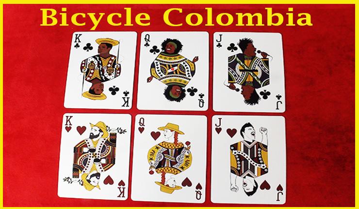 un roi une dame et un valet de trèfle avec une dame un roi et un valet de carreau du jeu de carte Bicycle Colombia