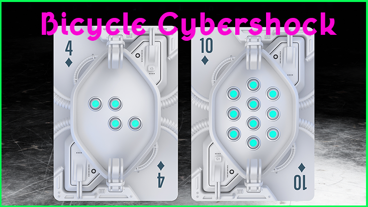 le quatre de carreau et le dix de carreau debout un a cote de l'autre du Jeu De Carte Le Bicycle Cybershock