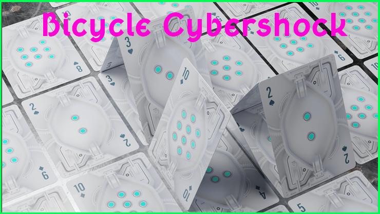 toutes les carte à point avec une dominance grise sont etalés sur la table du Jeu De Carte Le Bicycle Cybershock