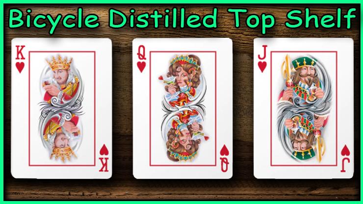 Le roi la dame et le valet de coeur un a côté de l'autre du jeu Bicycle Distilled Top Shelf