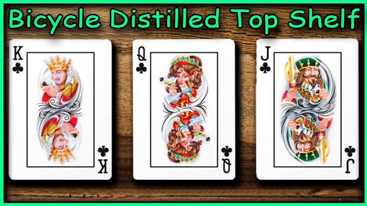 Le roi la dame et le valet de trefle un a côté de l'autre du jeu Bicycle Distilled Top Shelf