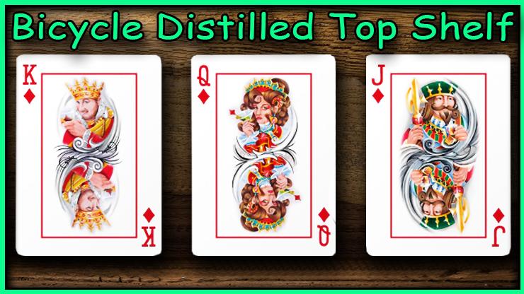 Le roi la dame et le valet de carreau un à côté de l'autre du jeu Bicycle Distilled Top Shelf