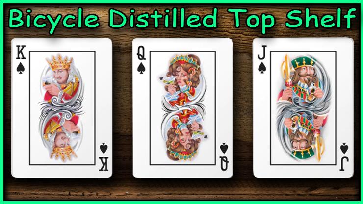 Le roi la dame et le valet depique un à côté de l'autre du jeu Bicycle Distilled Top Shelf