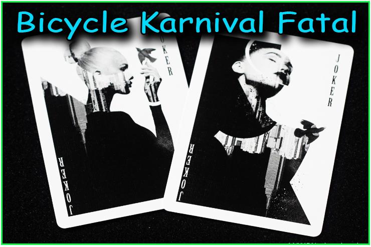superbe eventail d'une main réaliser avec le jeu bicycle karnival fatal