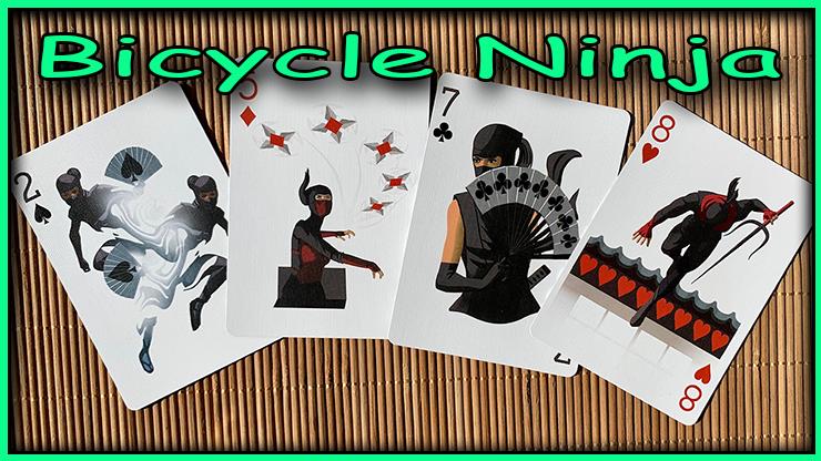 le deux de pique le cinq de carreau le sept de trefle et le huit de coeur avec des dessin de ninja  du jeu bicycle ninja