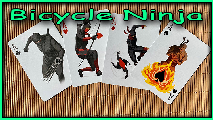 l'as de trefle l'as de coeur l'as de carreau et l'as de pique avec a chaque fois des ninja en dessin  du jeu bicycle ninja