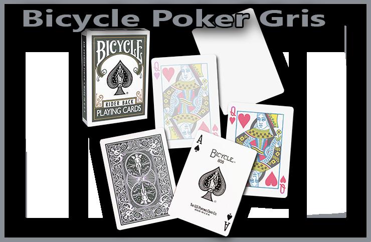 il y a l'etui du jeu un as de pique une carte a dos bicycle gris une dame de coeur normal et une dame de coeur qui s'efface du Jeu De Carte Bicycle Poker Gris