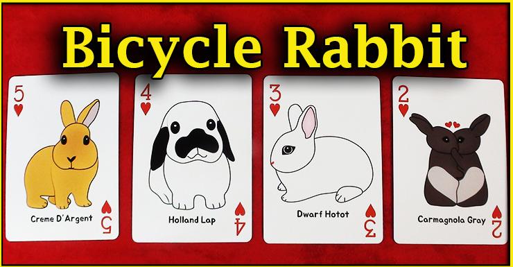 le deux le trois le quatre et le cinq de coeur du jeu Bicycle Rabbit