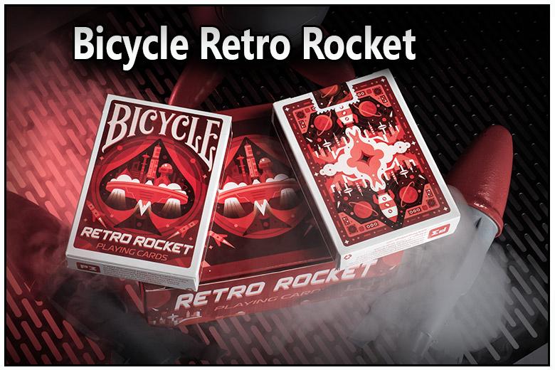 Présentation de la boite du jeu de carte bicycle retro rocket vue de face et vu de dos