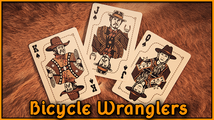 le roi la dame et le valet de pique representant des cowboy du jeu bicycle wranglers Marqué