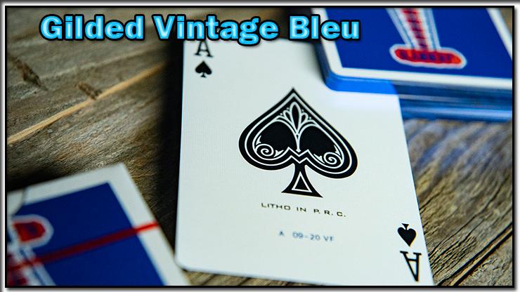 gros plan sur l'as de pique et le dos du jeu Vintage Feel Jerry's Nuggets Gilded Bleu