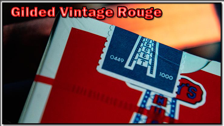 gros plan sur le sceau numéroté du jeu Vintage Feel Jerry's Nuggets Gilded Rouge.