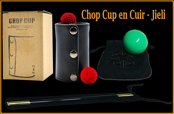 le matériel complet le chop cup la baguette les boules et la boite du tour Leather Chop Cup en Cuir De Jieli Magic.