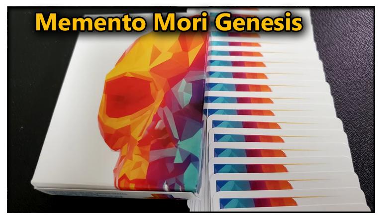 la boite du jeu a cote des carte en ruban vu de dos du Jeu De Carte Memento Mori Genesis