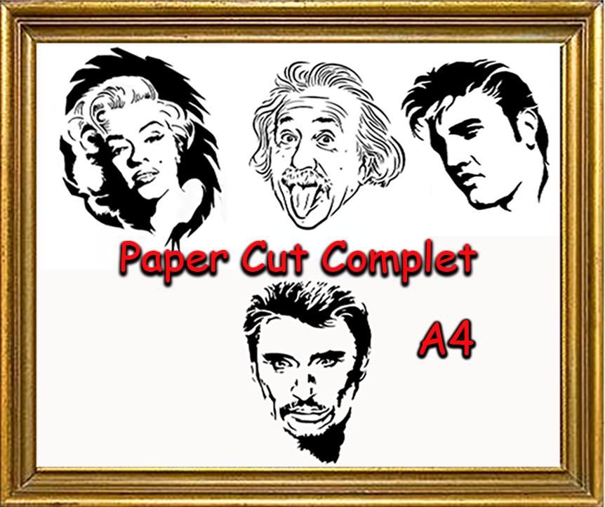 voici le paper cut complet série 1 en A4 avec marilyn,johnny,elvis et einstein