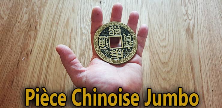 Pièce dans le creux de la main du Côté pile de la Pièce chinoise jumbo 7.5 cm
