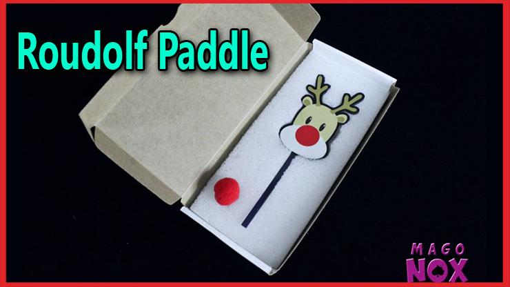 Présentation de la boite ouverte avec la raqquette en forme de renne au nez rouge du tour Roudolf Paddle