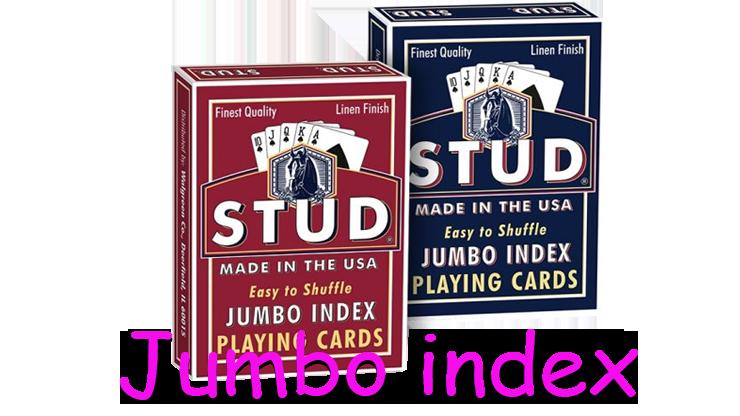 existe en deux couleur, un bleu et un rouge dujeu de carte stud jumbo index